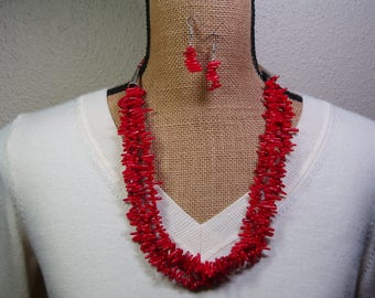 3 Strand Genuine Red Coral Branch Slices and .925 Sterling Silver Necklace and Earrings