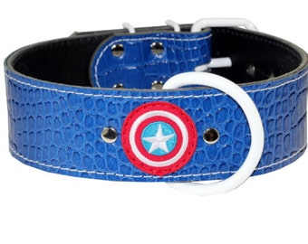 Leather Dog Collar - Captain America - Blue Leather Dog Collar - Red White And Blue Leather Dog Collar - Durable Collar - (Made In Ca)