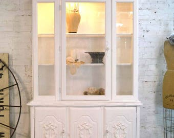 Painted Cottage Chic Shabby White Romantic French China Cabinet CC911