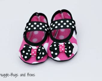 Pink Polka Dot Play Slippers (Sizes 1 - 12) MEASURE your child's foot PLEASE