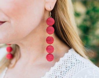 Hot Pink 5 Ball Bon Bon Earrings