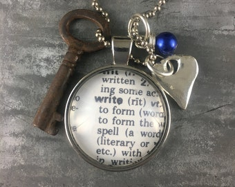 One Word Pendant with Vintage Key - Write