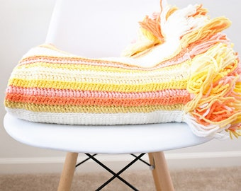 SALE Darling Girly Crochet Afghan Throw