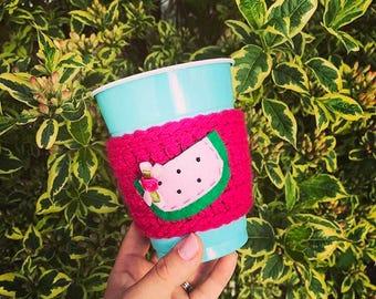 Watermelon cup cozy, summer drink cozy, summertime, mason jar cozy, crochet cup cozy, crochet summer, crochet fruit, drink cup cozy