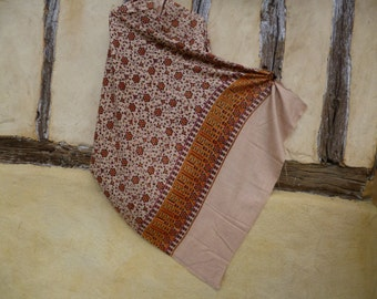 "Indian Printed Wool  shawl/stole. Orange/pale mustard/green Flowers Border 39"" x 78""  100 x 198 cm"