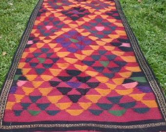 "Bright Coloured  Flatweave Carpet Kilim Runner Hand woven tough wool. 6 ft 4 x 3 ft 3""    193 x 100 cm Tapis"