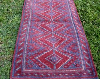 """Long hand woven Mishwani Rug/Kilim/Runner Carpet  7ft 8"""" x 2ft 1""""  234 x 63 cm Tapis"""