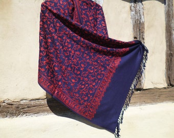 """Intricately embroidered Dark Blue Floral Stole. Luxurious shawl. Pure wool. 80 x 20"""". Kashmir."""
