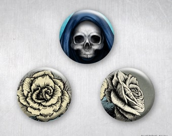 Skulls & Roses Pinback Buttons, Original Design Art, 1.25 inch, Set of 3