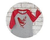 Chicken Shirt,  Baseball Tshirt, Youth Raglan Tee Shirt Ladies Top Mens Clothing Juniors Shirt Kids T Shirt Red and Grey Backyard Chickens