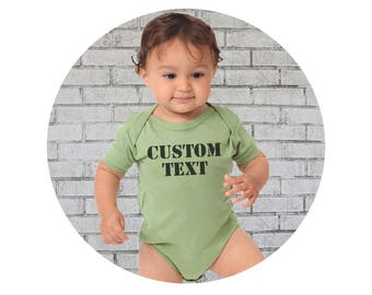 Personalized Baby Shirt, Custom Top, Short Sleeved Bodysuit, Infant Onepiece Baby Girl , Baby Boy Clothes, Avocado Green, Organic Cotton