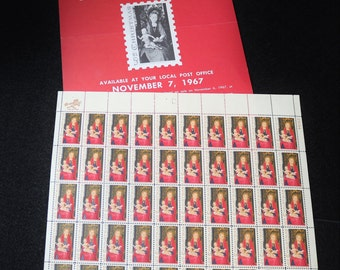 1967 Madonna and Child Christmas 5c US Postage Stamp Sheets Scott #1336 with Souvenir Poster
