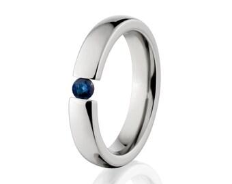 Sapphire- Tension Set Ring-Uniquely You-   4HR-P-Tension-Sapphire
