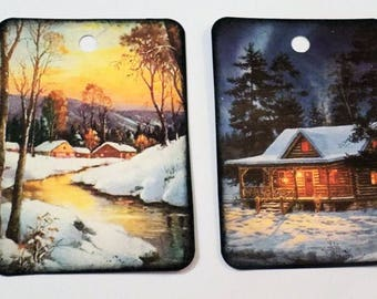 Cabin Gift Tags - Variety Set 9 - Log Cabins - Winter Cabin Tags - Rustic Tags - Vintage Cabins - Woodland Tags - Forest Tags - Log Home Tag