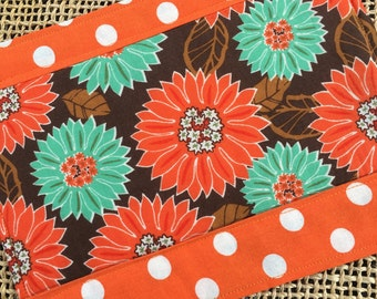 Snack Mat, Mug Rug, Orange and Teal Modern Flowers on  Brown Background