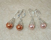 Custom order for Kate, 2 Pairs of Glass Pearl Filigree Dangle Earrings (Dark Peach and Pink) with Clips