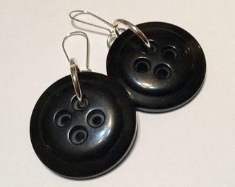 Vintage lucite coat button earrings - large jet black 1950s rockabilly 1960s mod retro