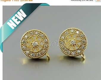 15% SALE 2 gold round flower medallion CZ disc earrings, Cubic Zirconia studded shield shape ...