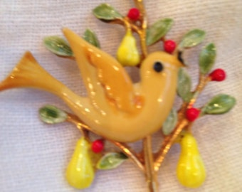 Partridege in a Pear Tree Brooch Signed Art