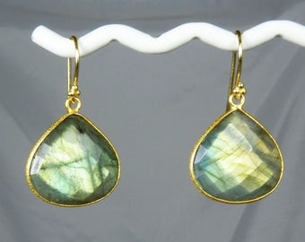 LARGE Faceted Labradorite Earrings, Super Flashy Bezel-Set Labradorite Earrings, Glowing Green, Golden Green, and Gold Flash, Gold Bezels