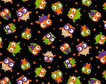 Colorful Owls on Blk... HARD Find--Low Price--LAST piece