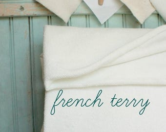 SaleToday Organic French Terry Half Yard - 62 Inches - Extra Wide 8.74 OZ Eco Friendly Cotton Fabric - White Cotton French Terry Cloth