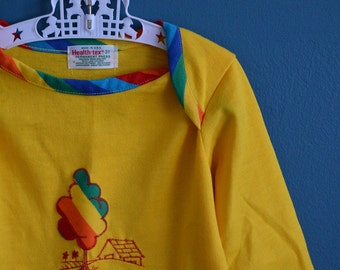 Vintage Yellow Health-tex Shirt with Rainbow Detail - Size 3T