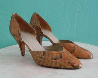 80's d'orsay snakeskin heels //  size 8.5  size 39