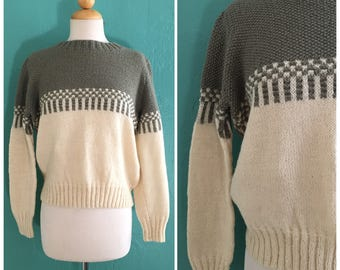 80's army green color block cropped sweater ~ small medium