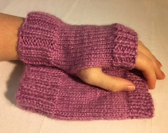 Mauve Pink Lavender Fuzzy Fingerless Gloves – Hand knitted