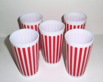 Hazel Atlas Red Candy Stripes Glasses