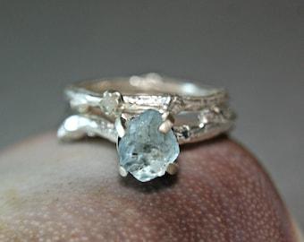 Rough Aquarmarine Twig Set, Sterling Silver Uncut Diamond Branch Ring, Woodland Style Jewelry