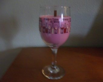 Cheers!! - Wineglass  container candle - 6 oz. -  Merlot