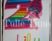 Rainbow Trolls Poppy number birthday shirt 1st 2nd 3rd 4th 5th 6th 7th 8th 9th