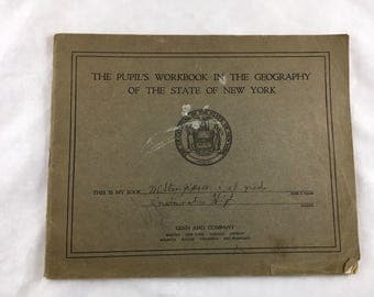 1924 NYS Geography Workbook. Pupils Workbook Geography of the State Of New York. Vintage Textbook. Old Maps, Ginn & Company Harry Rockwell