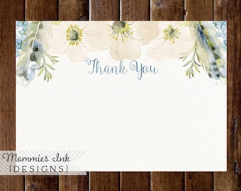 Spring Thank You Note, Boho Chic Floral Feathers Wreath Thank You, Watercolor Poppy Flat Thank You Note, Boho Thank You Note
