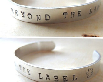 Beyond The Label, Hand Stamped Cuff Bracelet, Autism jewelry, Holiday gift, Autism Awareness bracelet, unisex, Puzzle Piece, Fundraiser