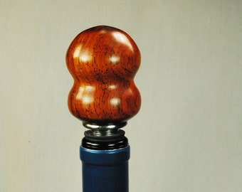Wine Bottle Stopper Handmade Wood and Stainless Steel Wine Cork, Cocobolo Wood Handcrafted by ASH Woodshops Great Gift Stocking Stuffer