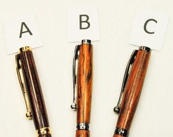 Handmade Custom Slim Twist Ballpoint Pen, Cocobolo Wood, By ASHWoodshops inexpensive gifts, Amazing Stocking Stuffers