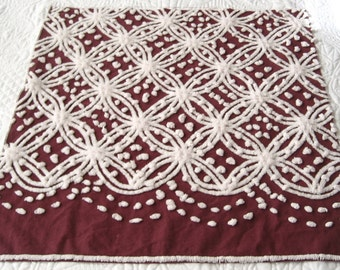 "Burgundy and White Wedding Ring Vintage Chenille Bedspread Fabric  24.5"" x 26"""
