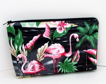 Flamingo Paradise in Black, Make-up Bag, Cosmetic Zipper Pouch