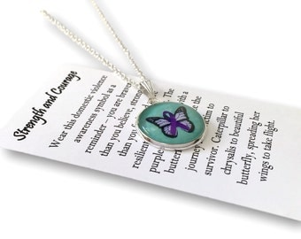 Domestic Violence Awareness Gift Necklace - Survivor- Includes Gift Message and Gift Box - Abuse Awareness