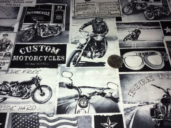 Motorcycle Fabric 1 Yard Biker Lane News Fine Quilt Fabric : motorcycle quilting fabric - Adamdwight.com