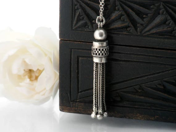 Antique Fob Tassel Pendant   Victorian Sterling Silver Tassel   Etruscan Revival Foxtail Chains   Gothic Revival - 20 Inch Sterling Chain