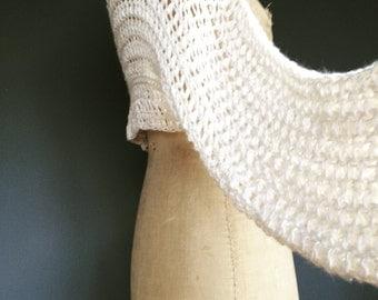 Handmade shrug, wedding shrug, white shrug, short shrug. Made in Scotland. Indian banana and cotton yarn. So soft.