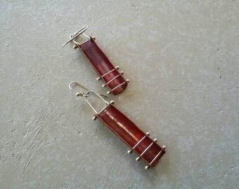 Copper corset earrings