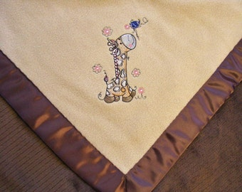 Baby Blanket Beige Fleece Brown Striped Minky with with Giraffe and Bird Ready to Ship