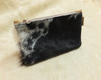 Handmade Cowhide Clutch Bag - Soft Hair On Hide Leather w/Suede Interior - Shaggy Black White - NEW ITEM