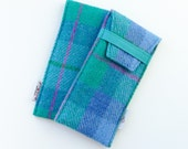 HARRIS TWEED Glasses or sunglasses case, blue and green plaid