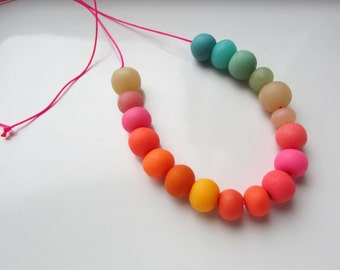 Statement Necklace, Kid's Jewelry, Fun and Colorful, Handmade Beaded Necklace, Polymer Bead Necklace, in Summer Days